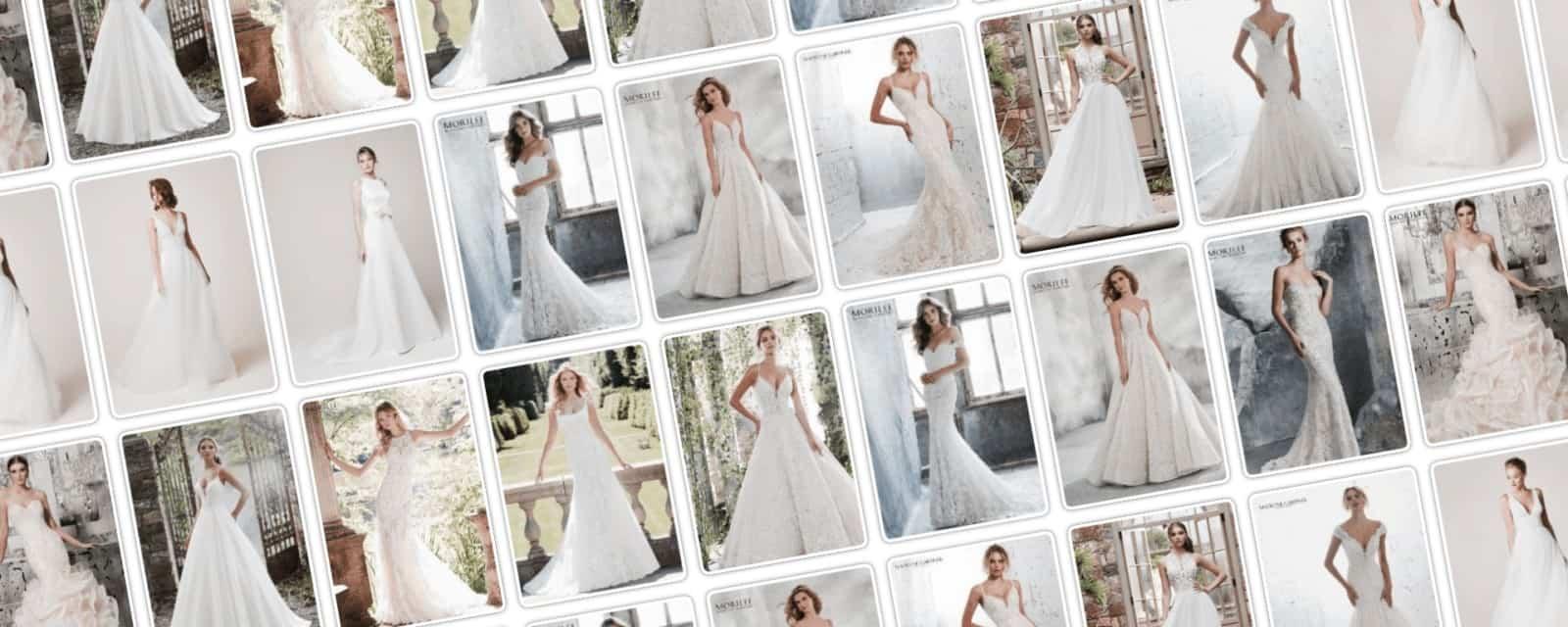 Eklektika eskuvoi ruhaszalon weboldalanak kezdo fotoja A kepen tobb menyasszony lathato, kulonfele menyasszonyi ruha van a modelleken.