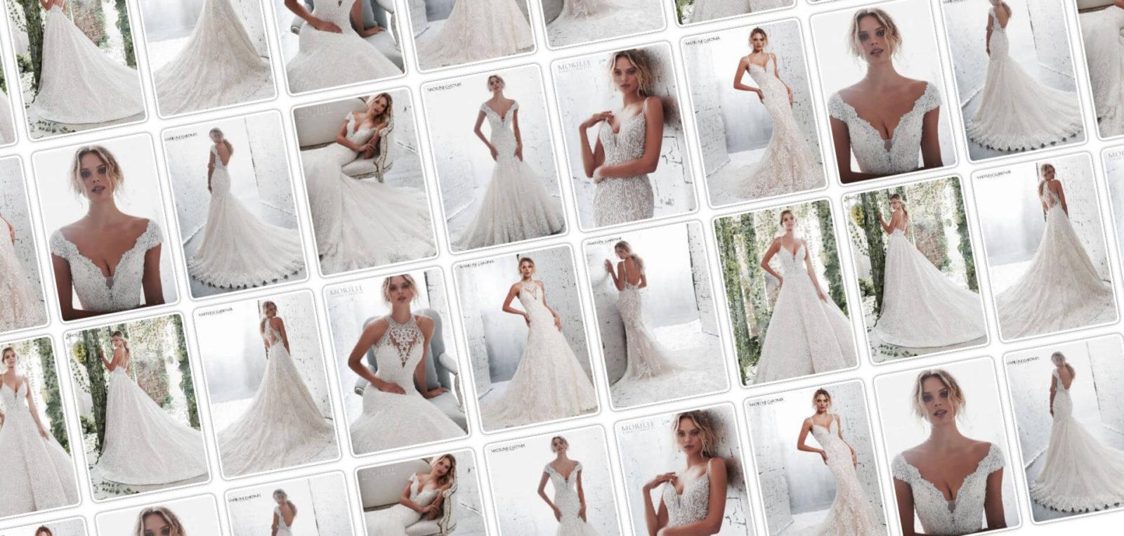 Az Eklektika esküvői ruhaszalon weboldalan a Morilee Couture menyasszonyi ruha kollekcionak a slidere.