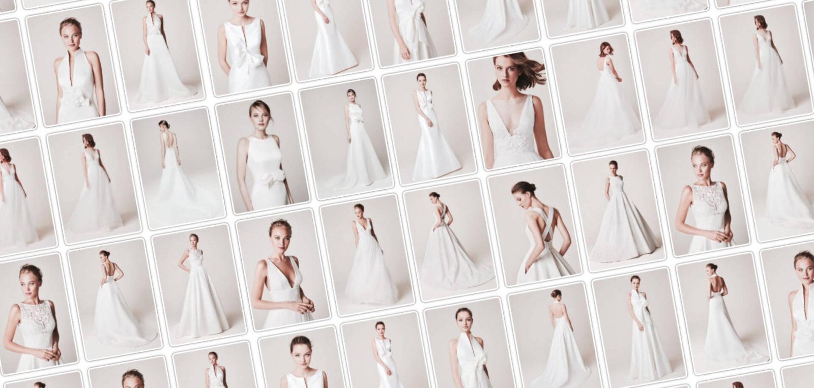 Az Eklektika esküvői ruhaszalon Blue by Morilee menyasszonyi ruha kollekciójának slidere.