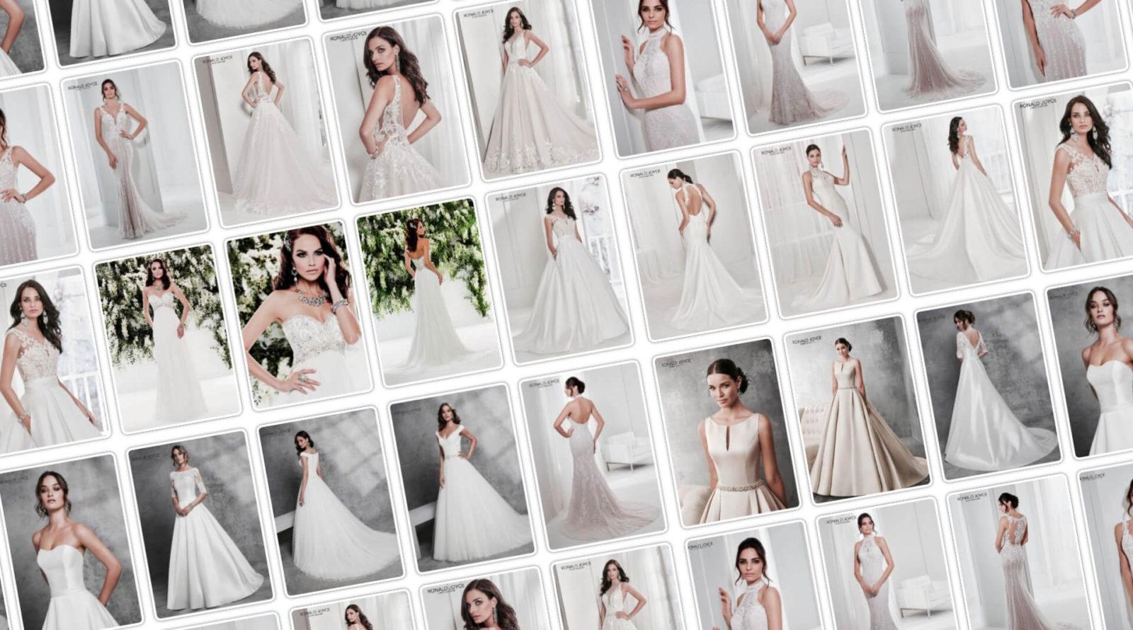 Az Eklektika eskuvoi ruhaszalon Ronald Joyce menyasszonyi ruha kollekciojanak slidere.